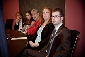 Listening to the presentation in the City Council Hall: from left to right: Prof. Sander de Leeuw (VU), Nienke Hofstra (VU), Prof Dirk-Jan Kamann (Pannonia), Prof. Helen Walker (President IPSERA), Prof. Wout Dullaert (VU)