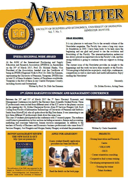 Newsletter Vol. 7. No. 1. 2014/15/II. NEW!