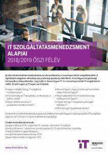 IT szolgáltatásmenedzsment alapjai kurzus - 2018. ősz