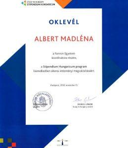 Oklevél a Stipendium Hungaricum program sikeres megvalósításáért